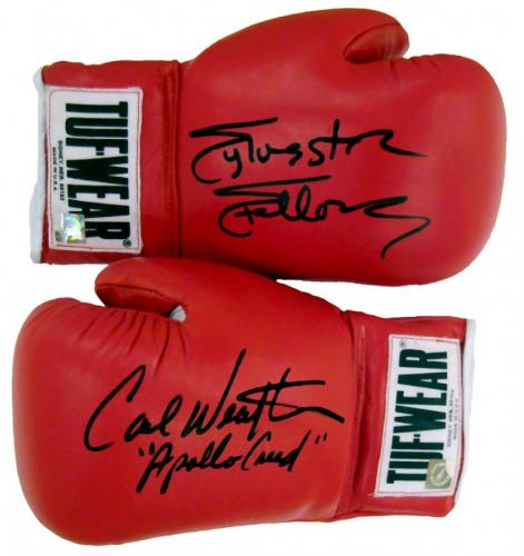 Sylvester Stallone & Carl Weathers Signed Tuf Wear Red Boxing Gloves