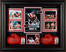 """Sylvester Stallone & Dolph Lundgren Rocky Framed Autographed 35"""" x 45"""" x 5"""" Movie Collage - BAS"""
