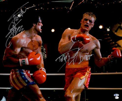 "Sylvester Stallone & Dolph Lundgren Autographed 20"" x 24"" Rocky- Fighting vs Ivan Drago Photograph - Beckett COA"