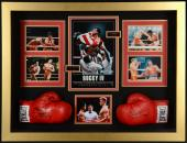 """Sylvester Stallone & Dolph Lundgren Autographed Boxing Gloves in  43"""" x 34"""" x 8 Shadow Box - Beckett COA"""