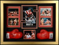 "Sylvester Stallone & Dolph Lundgren Autographed Boxing Gloves in  43"" x 34"" x 8 Shadow Box - Beckett COA"