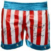 Sylvester Stallone & Dolph Lundgren Autographed USA Boxing Trunks - Beckett COA