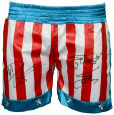 Sylvester Stallone & Dolph Lundgren Autographed USA Boxing Trunks - Beckett COA