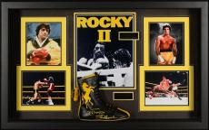 "Sylvester Stallone Framed 31"" x 47"" x 6"" Rocky II Shadowbox Collage with Autographed Rocky II Boxing Boot- Beckett COA"