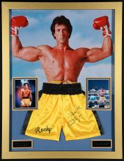 "Sylvester Stallone Framed  35"" x 45"" Autographed Boxing Trunks - Beckett COA"