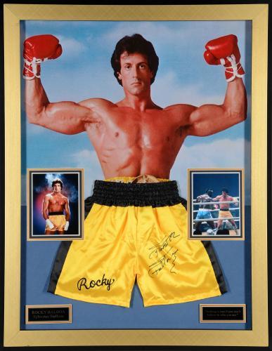 "Sylvester Stallone Framed  35"" x 45"" Autographed Boxing Trunks - Beckett COA"