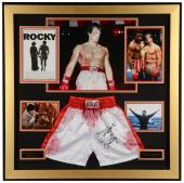 """Sylvester Stallone Framed 41"""" x 41"""" Rocky Collage With Autographed Boxing Trunks - Beckett COA"""