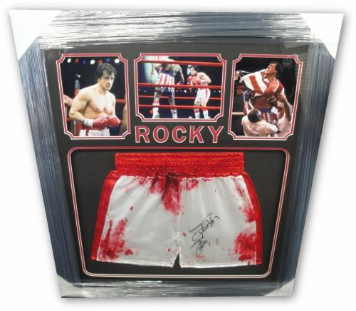 Sylvester Stallone Hand Signed Autograph Red/White Boxing Shorts Trunks Rocky OA