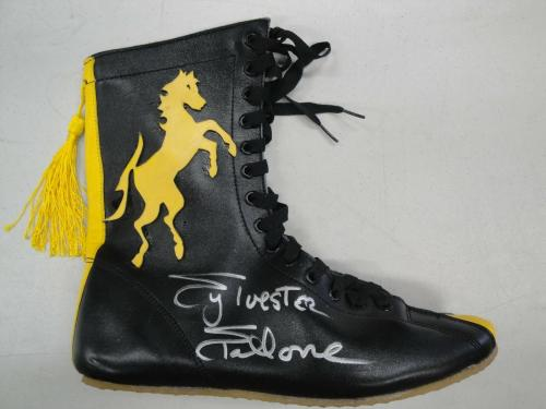 Sylvester Stallone Hand Signed Autographed Black / Yellow Boxing Shoe OA COA