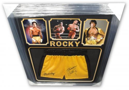 Sylvester Stallone Hand Signed Autographed Yellow Boxing Shorts Thrunks Rocky OA