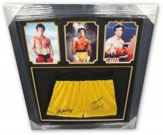 Sylvester Stallone Hand Signed Autographed Yellow Rocky Boxing Trunks OA Framed