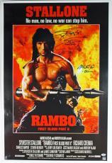Sylvester Stallone & Martin Kove Signed 24x36 Rambo Poster PSA AB04524