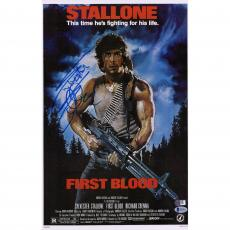 "Sylvester Stallone Rambo First Blood Autographed 12"" x 18"" Movie Poster - Beckett"