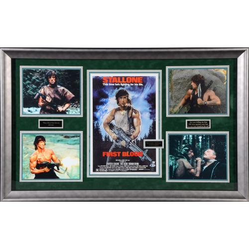 "Sylvester Stallone Rambo First Blood Framed Autographed 44"" x 29"" Collage - BAS"