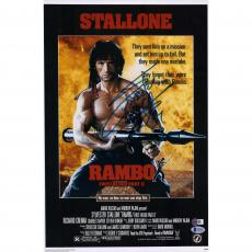 "Sylvester Stallone Rambo First Blood Part II Autographed 12"" x 18"" Movie Poster - Beckett"