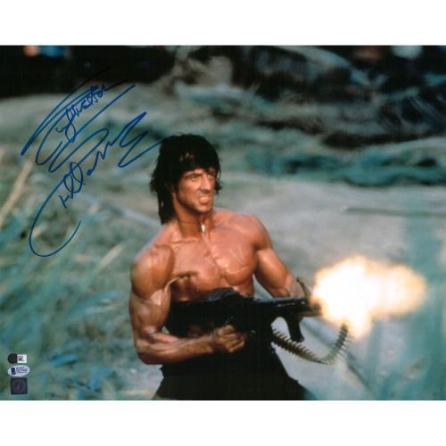 "Sylvester Stallone Rambo First Blood Autographed 16"" x 20"" Shooting Machine Gun Photograph - Beckett"