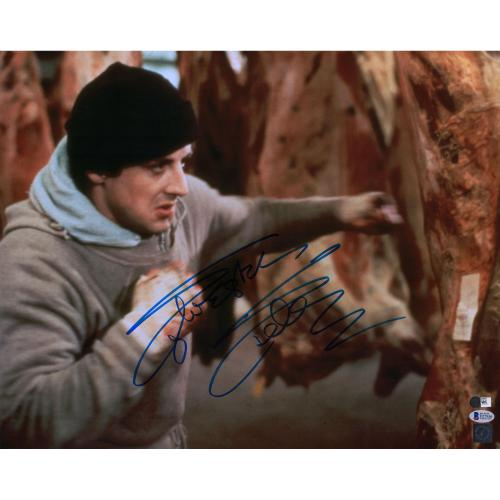 """Sylvester Stallone Rocky Autographed 16"""" x 20"""" Punching Meat Photograph - Beckett"""