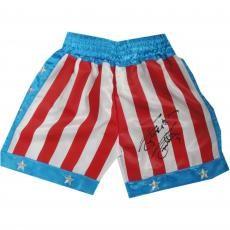 Sylvester Stallone Rocky Autographed Red, White and Blue Boxing Trunks - Beckett