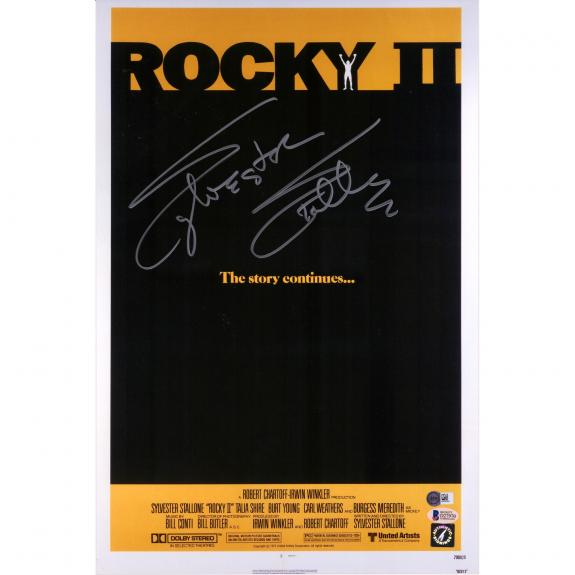 """Sylvester Stallone Rocky II Autographed 12"""" x 18"""" Movie Poster - Beckett"""