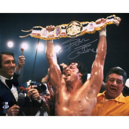 "Sylvester Stallone Rocky II Autographed 16"" x 20"" Holding Belt Photograph - Beckett"