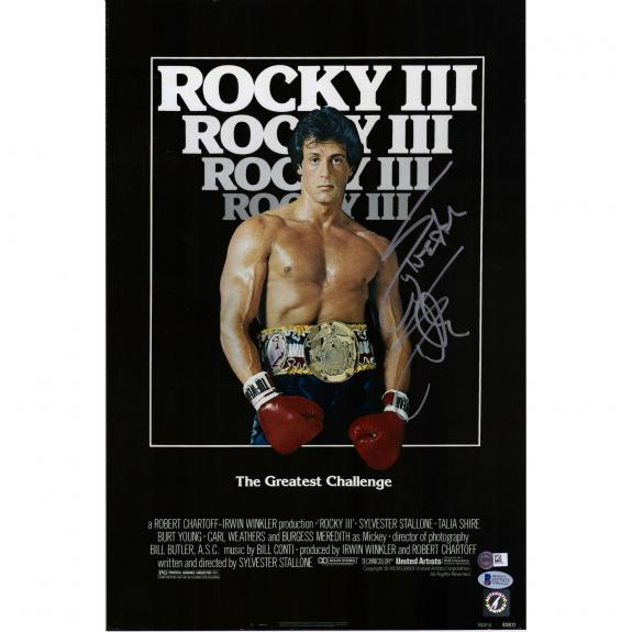"""Sylvester Stallone Rocky III Autographed 12"""" x 18"""" Movie Poster - Beckett"""