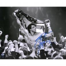 "Sylvester Stallone Rocky IV Autographed 16"" x 20"" Holding American Flag Photograph - Beckett"