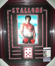 Sylvester Stallone Rocky Signed 7 Hearts Playing Card Matted & Framed Jsa Coa