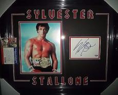 Sylvester Stallone Rocky Signed 8x10 Photo Double Matted & Framed Psa/dna Coa
