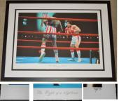 """Sylvester Stallone ROCKY vs Apollo Creed """"The Fight of a Lifetime"""" Limited Edition (only 275) Giclee Lithograph Artwork - FRAME - Guaranteed to pass PSA or JSA measures 40x30 inches - Custom FRAMED - Guaranteed to pass PSA or JSA"""