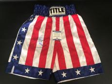 Sylvester Stallone Signed Auto Full Size Rocky Boxing Trunks Beckett Bas Coa