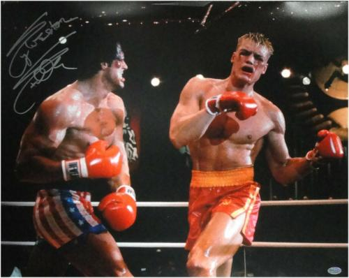 Sylvester Stallone Signed Autographed 16x20 Photo Dolph Lundgren Rocky OA8420209