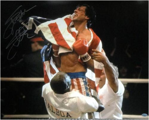 Sylvester Stallone Signed Autographed 16x20 Photo Rocky US Flag OA 8420204