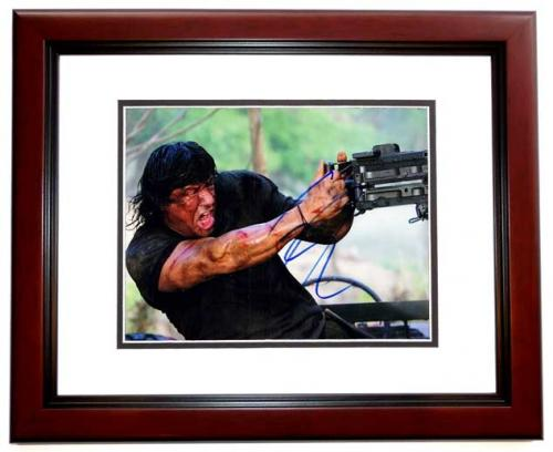 Sylvester Stallone Signed - Autographed RAMBO 8x10 inch Photo - MAHOGANY CUSTOM FRAME - Guaranteed to pass PSA or JSA