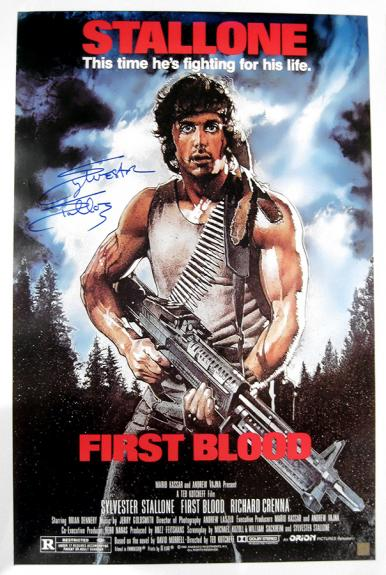 Sylvester Stallone Signed FIRST BLOOD 24x36 Movie Poster
