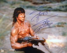 "Sylvester Stallone Signed RAMBO II ""SHOOTING MACHINE GUN"" 16x20 Photo"