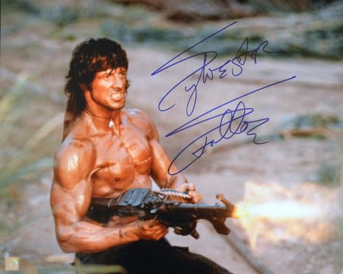 "Sylvester Stallone Signed RAMBO II ""SHOOTING MACHINE GUN"" 16x20 Photo"