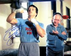 "Sylvester Stallone Signed ROCKY 16x20 Photo ""HITTING SPEEDBAG W/ MICKEY"