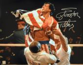 Sylvester Stallone Signed ROCKY IV Celebration 16x20 Photo