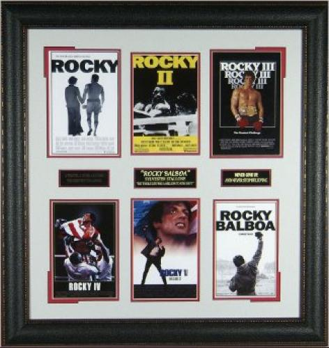 Sylvester Stallone unsigned 6 Mini Rocky I-VI Movie Posters Premium Leather Framed 30x28 (entertainment boxing photo)