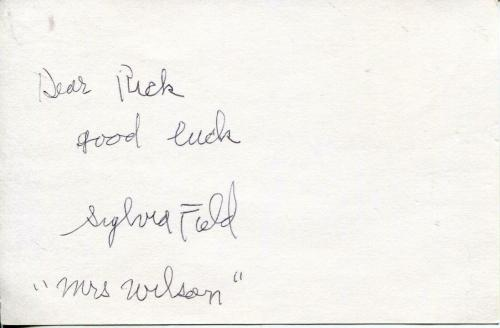 Sylvia Field Autograph Signed Card Mrs Wilson Dennis The Menace
