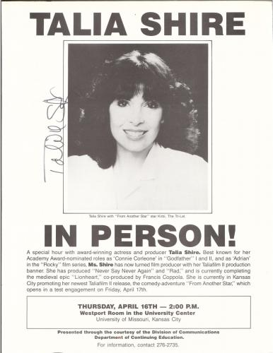 Talia Shire Advertisment Flyer Signed Autographed W/coa