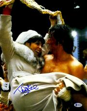 "Talia Shire Autographed 11"" x 14""Celebrating With Sylvester Stallone Rocky Photograph - Beckett COA"