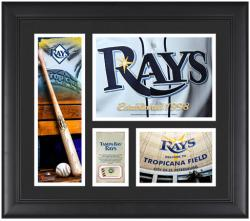 """Tampa Bay Rays Team Logo Framed 15"""" x 17"""" Collage with Piece of Game-Used Ball"""