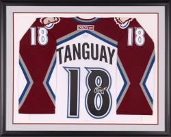 Aex Tanguay Autographed Avalanche Framed White Jersey