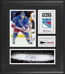 """Tanner Glass New York Rangers Framed 15"""" x 17"""" Collage with Piece of Game-Used Puck"""