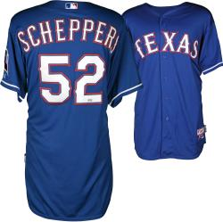 Tanner Scheppers Texas Rangers Player Worn Blue Jersey from 4/8/14 vs Boston Red Sox