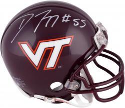 Darryl Tapp Virginia Tech Hokies Autographed Riddell Mini Helmet