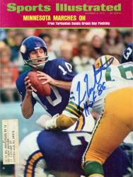 Fran Tarkenton Minnesota Vikings Autographed Sports Illustrated March On Magazine with HOF 86 Inscription - Mounted Memories