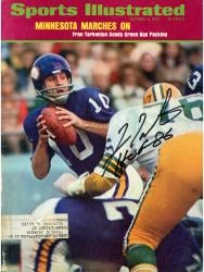 "TARKENTON, FRAN AUTO ""HOF 86"" (MINN MARCHES ON) SI MAGAZINE - Mounted Memories"