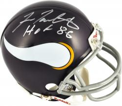 Fran Tarkenton Minnesota Vikings Autographed Riddell Throwback Mini Helmet with HOF 86 Inscription - Mounted Memories